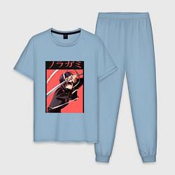 Пижама хлопковая мужская Бездомный бог цвета мягкое небо — фото 1