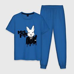 Пижама хлопковая мужская Misfits Rabbit цвета синий — фото 1