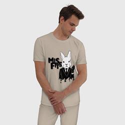 Пижама хлопковая мужская Misfits Rabbit цвета миндальный — фото 2