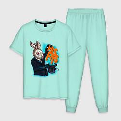 Пижама хлопковая мужская Rabbit magician цвета мятный — фото 1