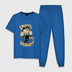 Пижама хлопковая мужская Bendy: Keep Smiling цвета синий — фото 1