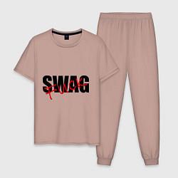 Пижама хлопковая мужская SWAG Fuck цвета пыльно-розовый — фото 1