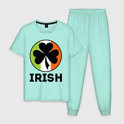 Пижама хлопковая мужская Irish - цвет флага цвета мятный — фото 1