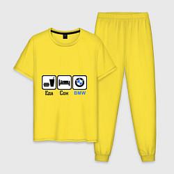 Пижама хлопковая мужская Еда, сон и BMW цвета желтый — фото 1