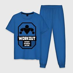 Пижама хлопковая мужская WorkOut Anytime цвета синий — фото 1