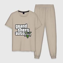 Пижама хлопковая мужская GTA Five цвета миндальный — фото 1