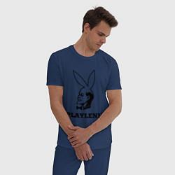 Пижама хлопковая мужская PlayLenin цвета тёмно-синий — фото 2