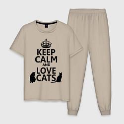 Пижама хлопковая мужская Keep Calm & Love Cats цвета миндальный — фото 1