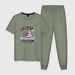 Пижама хлопковая мужская Saturday Freedom цвета авокадо — фото 1