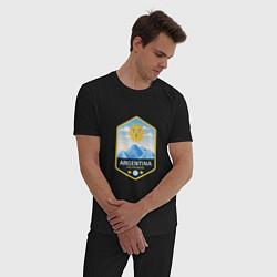 Пижама хлопковая мужская Argentina Soccer цвета черный — фото 2