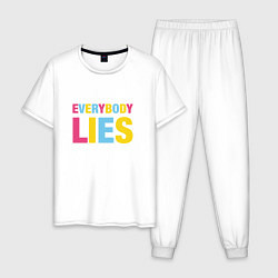Пижама хлопковая мужская Everybody Lies цвета белый — фото 1