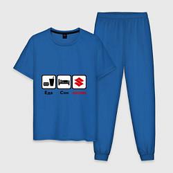 Пижама хлопковая мужская Главное в жизни – еда, сон , suzuki цвета синий — фото 1