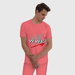 Пижама хлопковая мужская WWE Fight цвета коралловый — фото 2