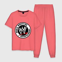 Пижама хлопковая мужская World wrestling entertainment цвета коралловый — фото 1