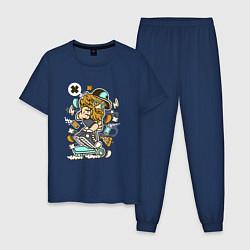 Пижама хлопковая мужская Хипстер на самокате цвета тёмно-синий — фото 1