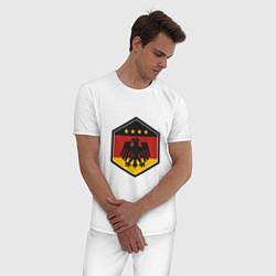 Пижама хлопковая мужская Немецкий фанат цвета белый — фото 2