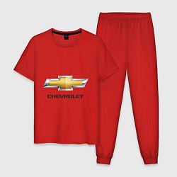 Пижама хлопковая мужская Chevrolet логотип цвета красный — фото 1