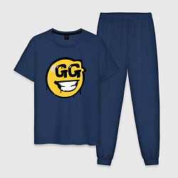 Пижама хлопковая мужская GG Smile цвета тёмно-синий — фото 1