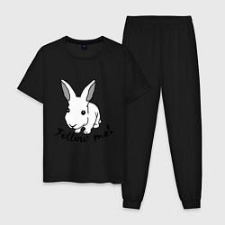 Пижама хлопковая мужская Rabbit: follow me цвета черный — фото 1