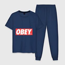 Пижама хлопковая мужская OBEY Logo цвета тёмно-синий — фото 1