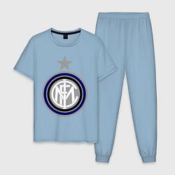Пижама хлопковая мужская Inter FC цвета мягкое небо — фото 1
