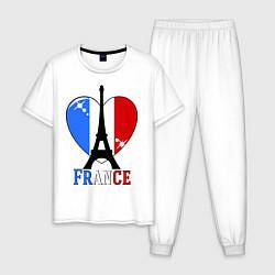 Пижама хлопковая мужская France Love цвета белый — фото 1