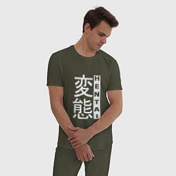 Пижама хлопковая мужская HENTAI Style цвета меланж-хаки — фото 2