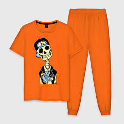 Пижама хлопковая мужская Скелет в кепке цвета оранжевый — фото 1