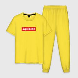 Пижама хлопковая мужская Suprememe цвета желтый — фото 1