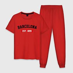 Пижама хлопковая мужская FC Barcelona Est. 1899 цвета красный — фото 1