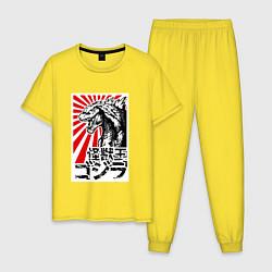 Пижама хлопковая мужская Godzilla Poster цвета желтый — фото 1