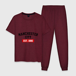 Пижама хлопковая мужская FC Manchester City Est. 1880 цвета меланж-бордовый — фото 1