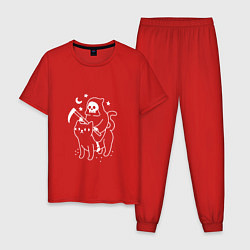 Пижама хлопковая мужская Cat Got Your Soul цвета красный — фото 1