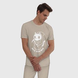 Пижама хлопковая мужская Кот-смерть цвета миндальный — фото 2