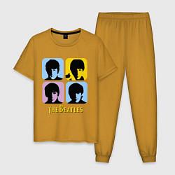 Пижама хлопковая мужская The Beatles: pop-art цвета горчичный — фото 1