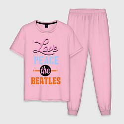 Мужская пижама Love peace the Beatles
