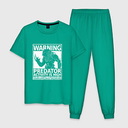 Пижама хлопковая мужская Predator Activity is High цвета зеленый — фото 1