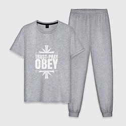 Пижама хлопковая мужская Trust pray Obey цвета меланж — фото 1