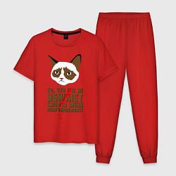 Пижама хлопковая мужская Что вас не убивает цвета красный — фото 1