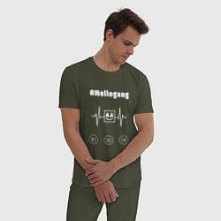 Пижама хлопковая мужская Marshmello: Mellogang цвета меланж-хаки — фото 2