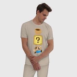 Пижама хлопковая мужская Любитель кофе Марио цвета миндальный — фото 2