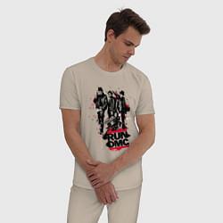 Пижама хлопковая мужская Run-DMC цвета миндальный — фото 2