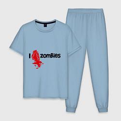 Пижама хлопковая мужская I love zombies цвета мягкое небо — фото 1