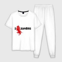 Пижама хлопковая мужская I love zombies цвета белый — фото 1