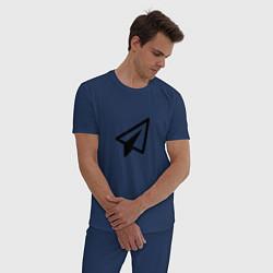 Пижама хлопковая мужская Самолетик цвета тёмно-синий — фото 2