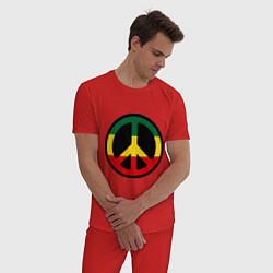 Пижама хлопковая мужская Peace Symbol цвета красный — фото 2
