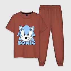 Пижама хлопковая мужская Соник цвета кирпичный — фото 1