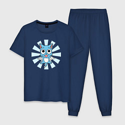Пижама хлопковая мужская Happy Kitty цвета тёмно-синий — фото 1