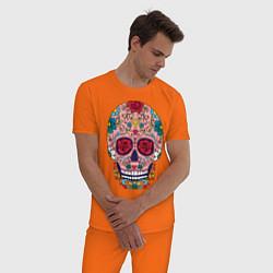 Пижама хлопковая мужская Oldschool skull цвета оранжевый — фото 2