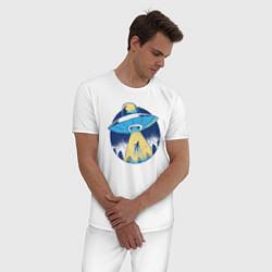 Пижама хлопковая мужская Пришельцы цвета белый — фото 2